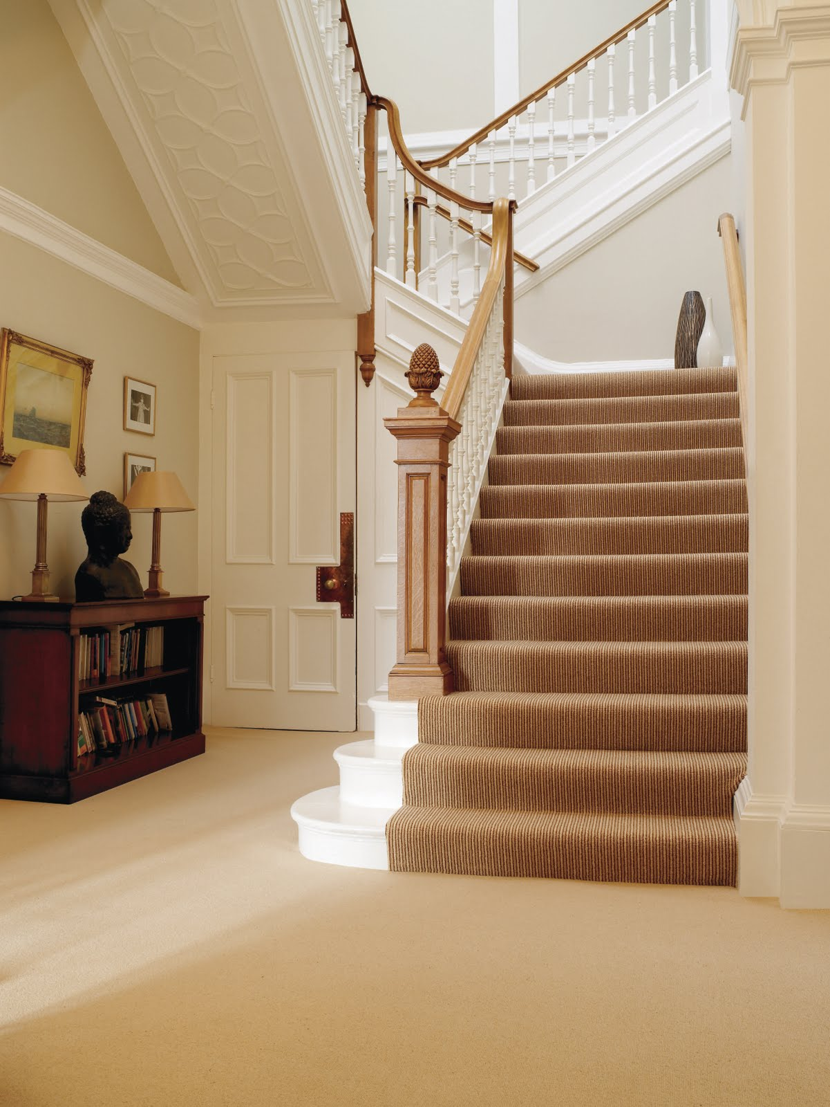 Carpeted Stairs Most Stairs Carpet Is Normally Chosen To Match The Adjacent Rooms As How To Clean Carpet Carpet Cleaning Hacks Stairway Carpet