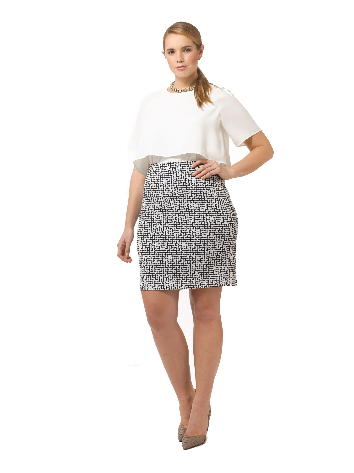 Dot Print Skirt by @karen_kane, Available in sizes M-XL and 0X-3X