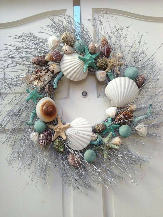 Love this costal summer wreath Crafty things Pinterest Wreaths