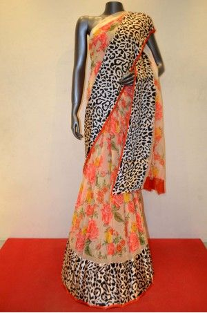 Floral Designer Pure Georgette Silk Designer Satin Prints Border Product Code: AC204001