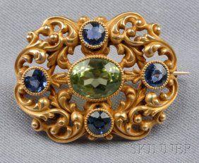 630: Antique 14kt Gold Gem-set Brooch, Durand & Co., be : Lot 630