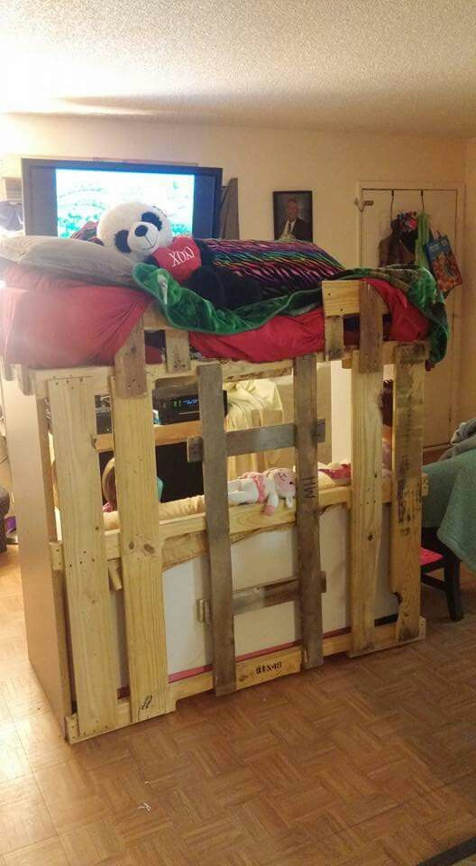 Homemade Loft Bed Made Out Of Pallets Pallet Furniture In 2018