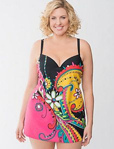 Swirl print swim dress with built in bra by Cacique $119.95
