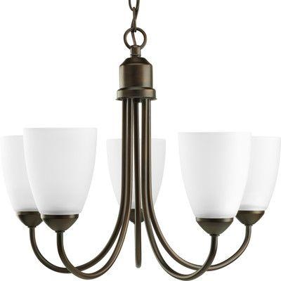 Progress lighting gather 5 light chandelier in antique bronze