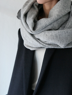 Minimal classic - grey scarf - black coat