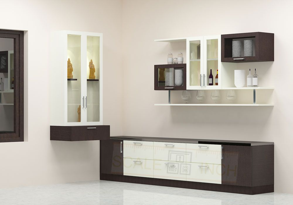 Modular Crockery Unit With Puja Unit Designed In An