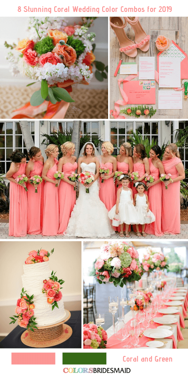 8 Stunning Coral Wedding Color Combos For 2019 Coral Wedding Colors Coral Wedding Themes Coral Wedding