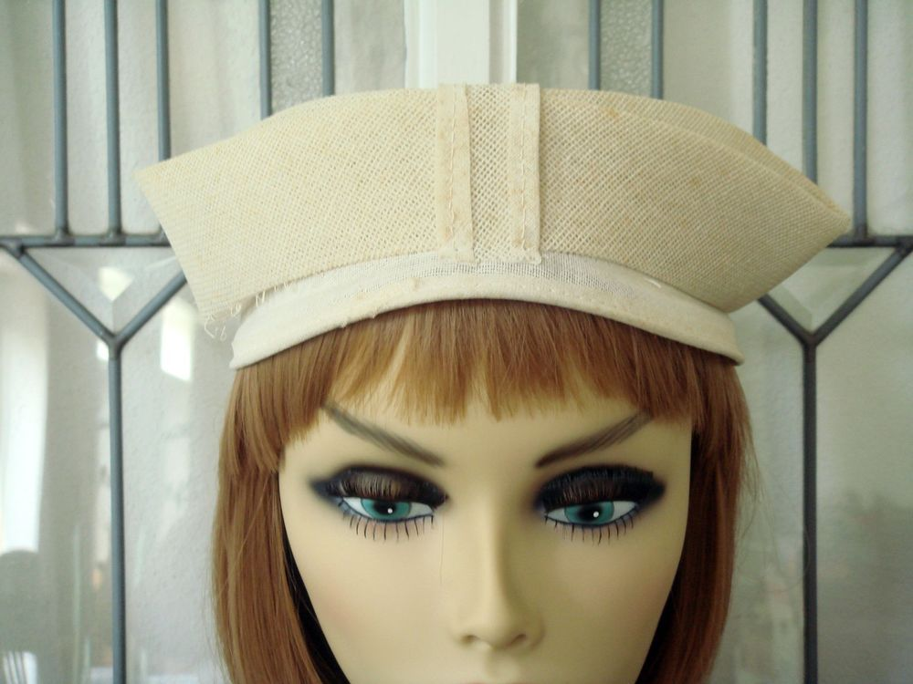 Vintage Millinery Store Stock White Buckram Hat frame with Bow ...
