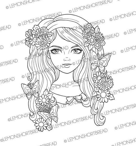 Digital Stamp Butterfly Flower Girl Face Digi Download
