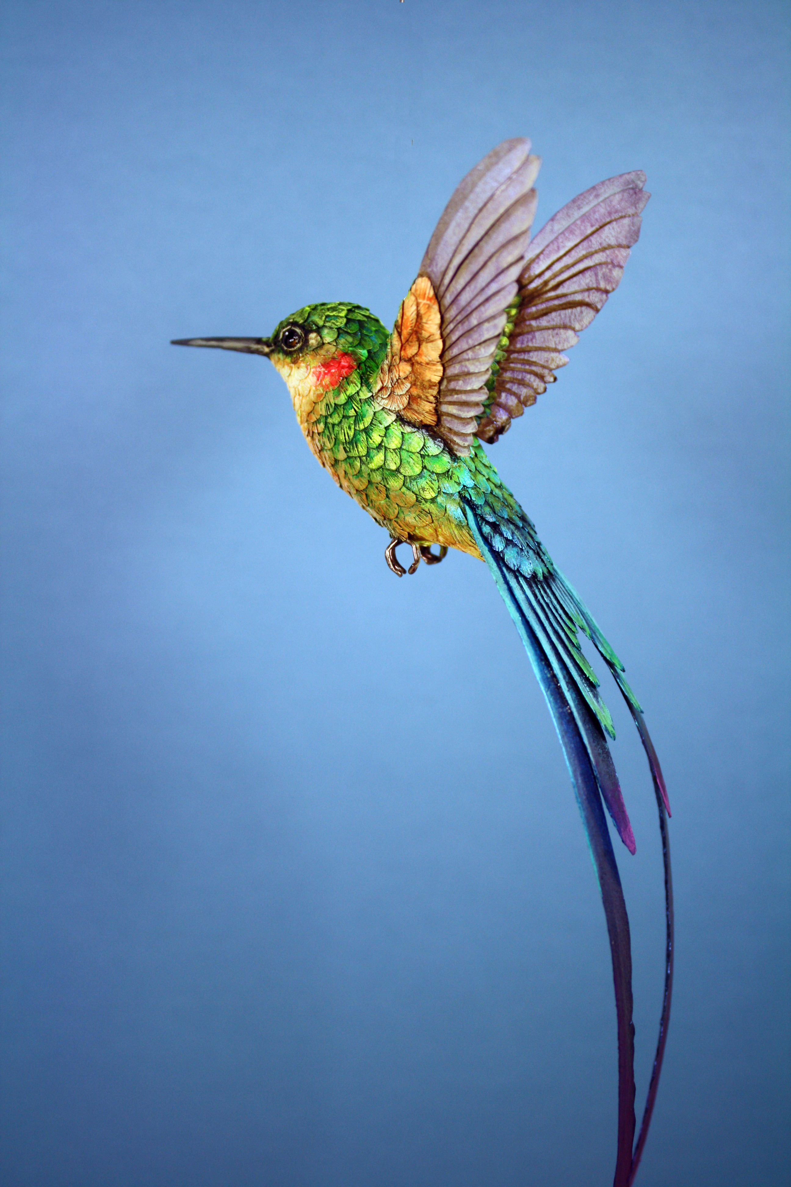 Handmade paper and wood long tailed hummingbird sculpture ...