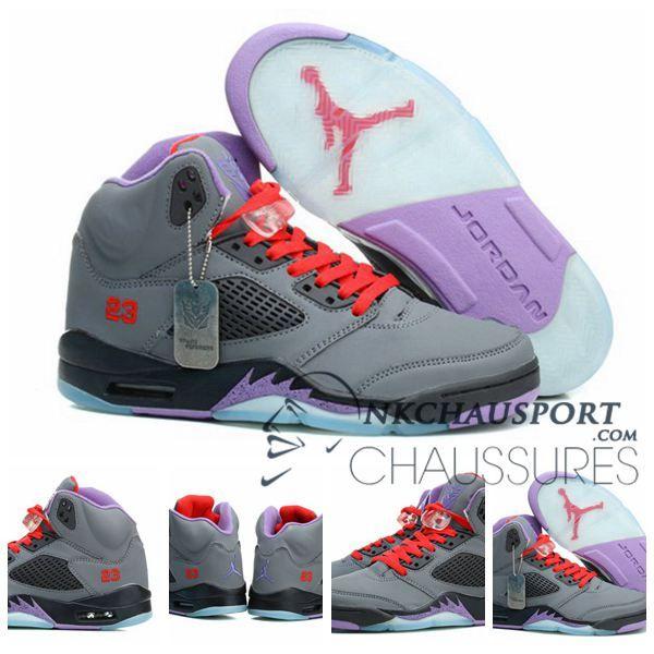 outlet store 83526 c1b97 Nike Air Jordan 5   Classique Chaussure De Basket Homme Grise Rouge Lacet