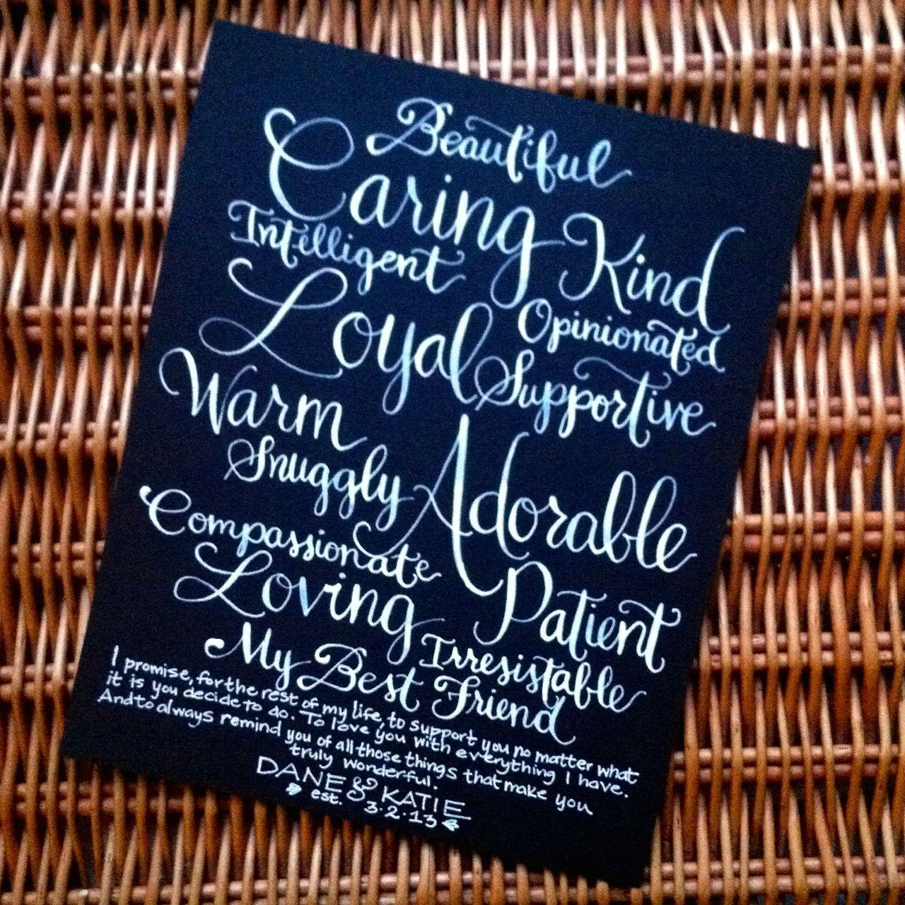Modern calligraphy wedding vows brahmin lettering co