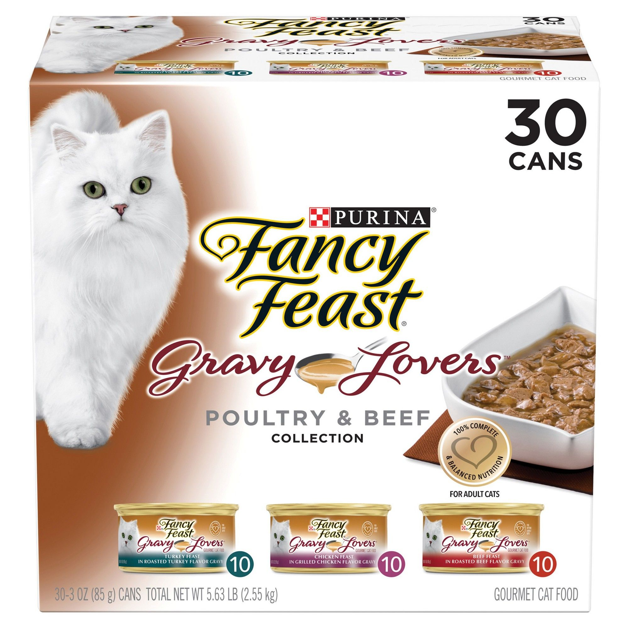 Fancy Feast Gravy Lovers Poultry Beef Feast Variety Pack Wet Cat Food 30ct Adult Unisex Canned Cat Food Cat Food Fancy Feast Cat Food