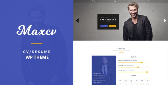 cool Max CV - Resume\/CV WordPress Theme (Individual) ThemeForest - wordpress resume theme
