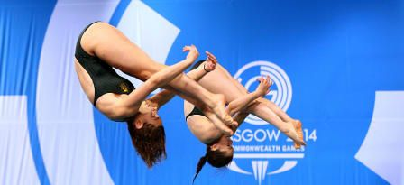<h5>20th Commonwealth Games - Day 7: Diving</h5> <p>EDINBURGH, SCOTLAND - JULY 30: Maddison Keeney and Anabelle Smith of Australia competes in the Women's Synchronised 3m Springboard Final at Royal Commonwealth Pool during day seven of the Glasgow 2014 Commonwealth Games on July 30, 2014 in Edinburgh, United Kingdom.</p> © 2014 Getty Images