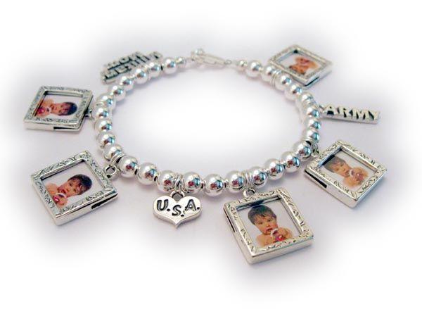 We Remember Military Mom Picture Frame Charm Bracelet Sterling