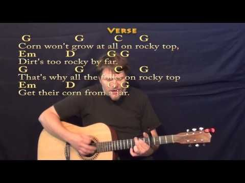 Rocky Top Strum Guitar Cover Lesson With Lyrics Chords Acoustic Guitar Lessons Guitar Lessons For Beginners Guitar Songs