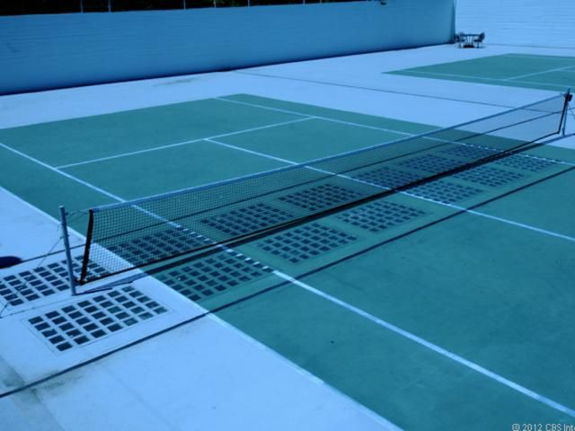 Tennis court with glass bricks