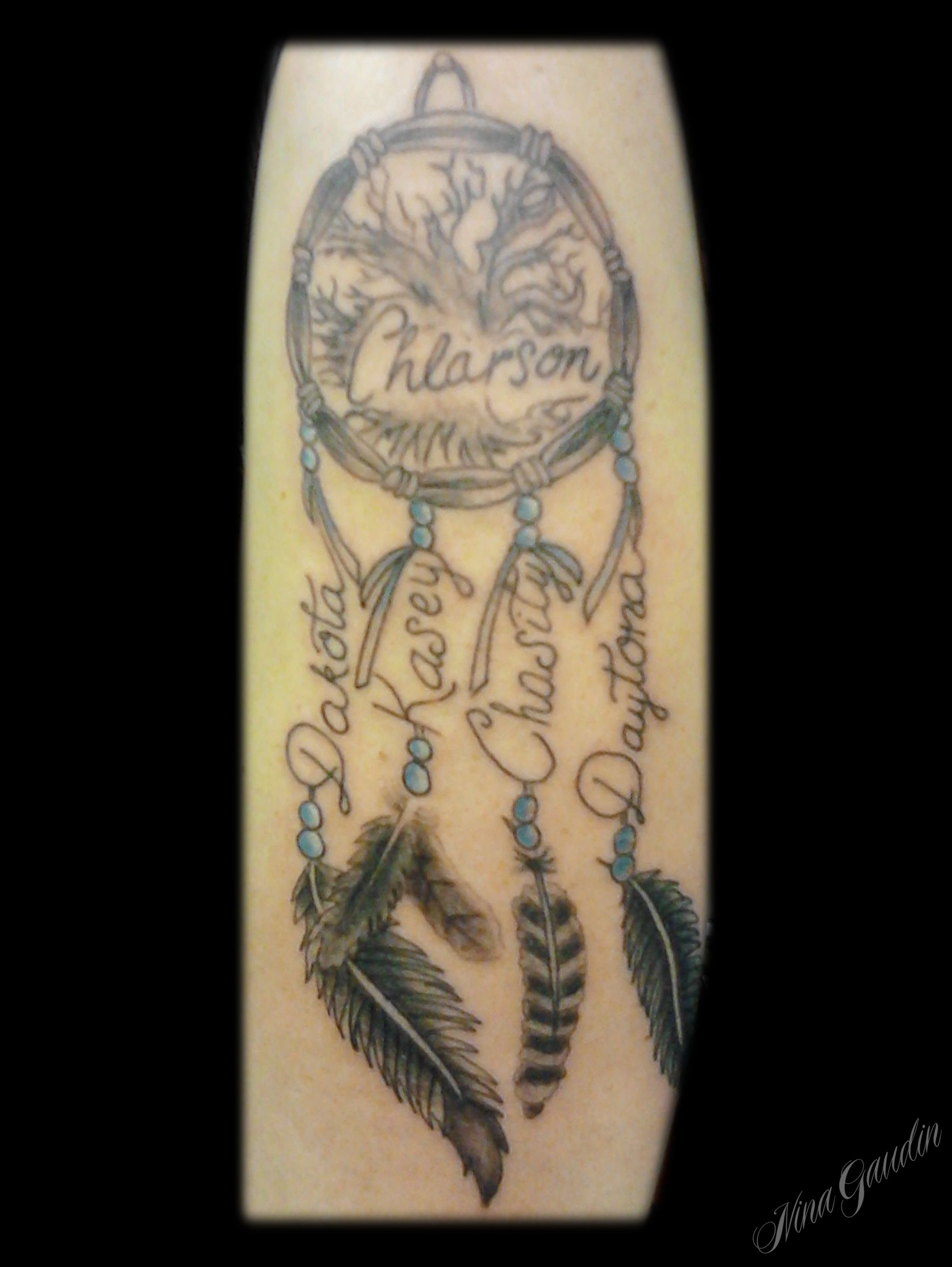 Dream Catcher With Names Name and family tree dreamcatcher Tattoo by Nina Gaudin of 40th 4