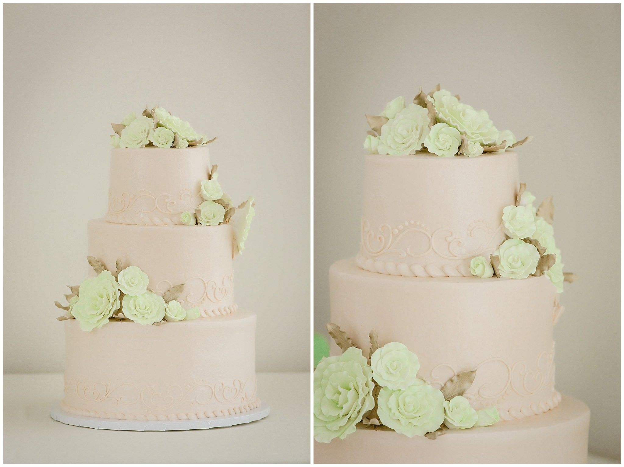 Kristen vota photography peach and mint wedding cake by
