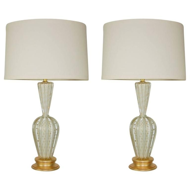 Murano Glass Table Lamps With Bubbles White Gold With Images White Table Lamp Glass Table Vintage Table Lamp