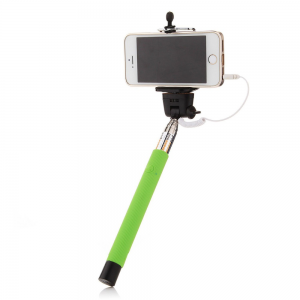 Green 3 5mm Extendable Selfie Wired Stick Phone Holder