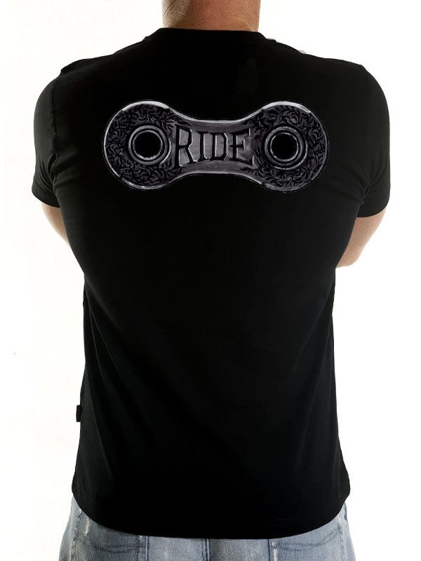 """Cool new cycling tee from Cycology. """"Ride lots"""" says Eddy and we have to agree with this profound and ageless wisdom. An ornate renaissance chain link painted in black ink on paper says it all. #cycling t-shirts"""