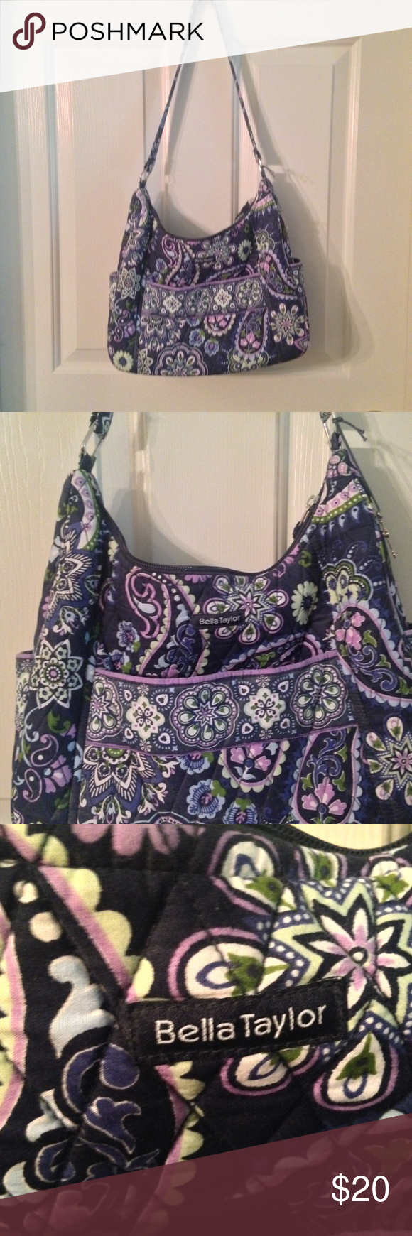 Purse Bella Taylor quilted purse navy background with pasley print in lavender, light green, light blue and white. Has front pocket that closes with Velcro tab, two side pockets and one inside zipper pocket.  👜 Non-🚬 household. bella taylor Bags Shoulder Bags