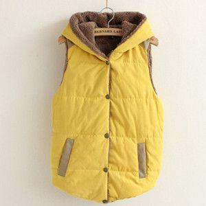 Hooded Cotton Velvet Sleeveless Vest