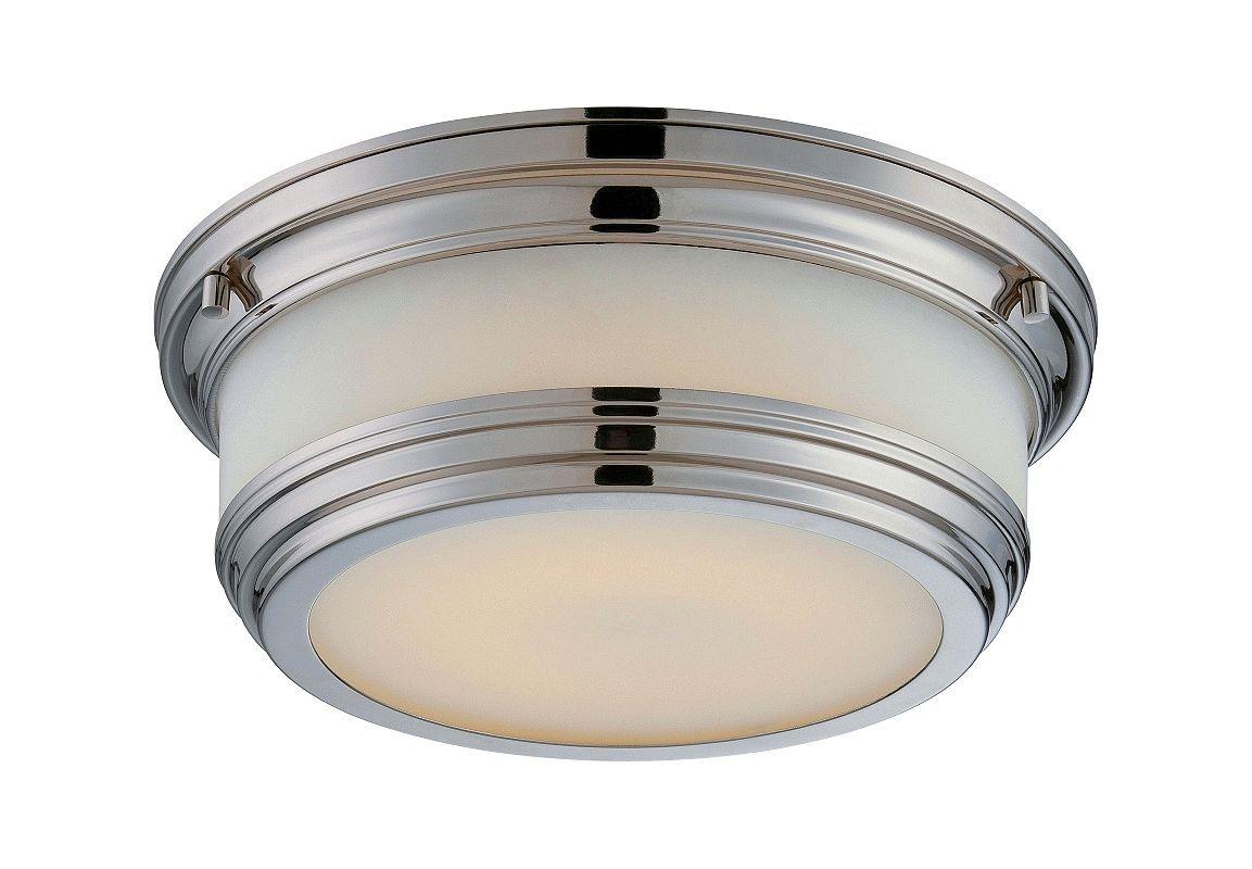 nuvo lighting dawson 1 light led flush mount ceiling fixture polished nickel indoor - Nuvo Lighting
