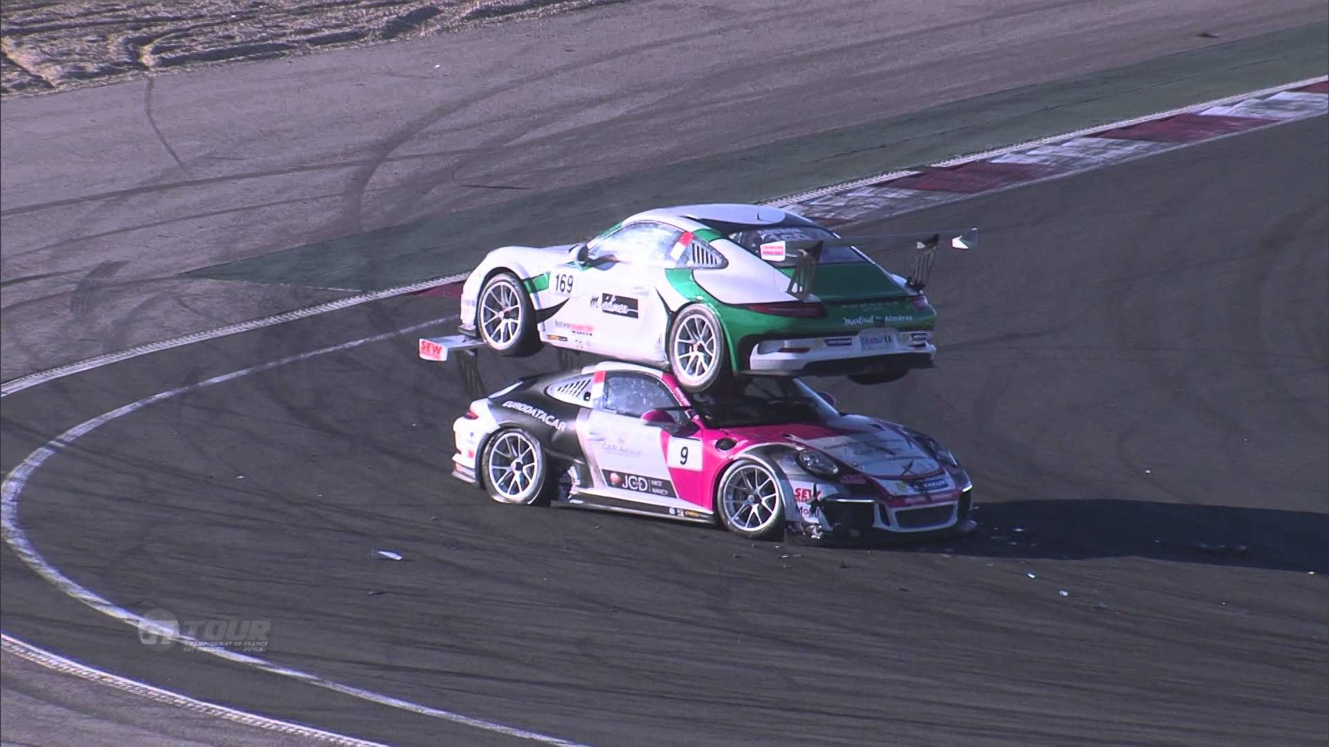 Crazy Accident Leaves Two Race Cars Stacked on Top of Each Other ...