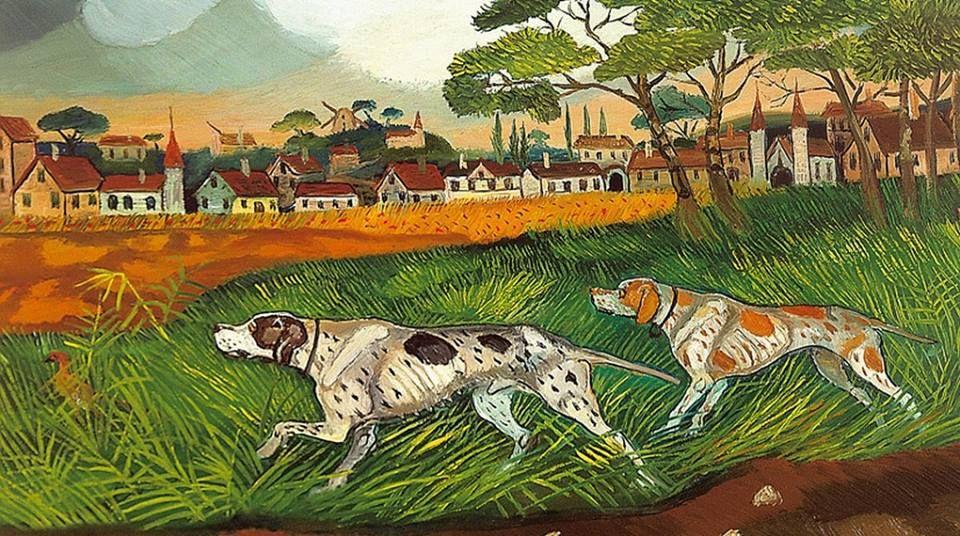 478 Ligabue Antonio 1956 57 Cani Da Caccia Con Paesaggio