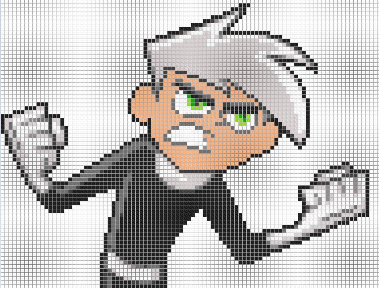 pixel art template | This is Danny Phantom pixel art template for ...
