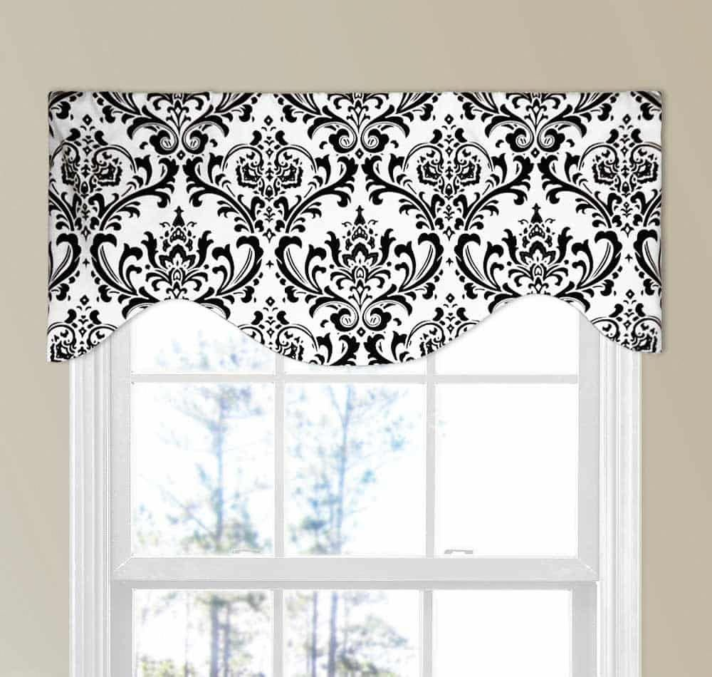 Traditions Black And White Modern Valance Kitchencurtains White Kitchen Curtains Kitchen Curtains And Valances Modern Valances
