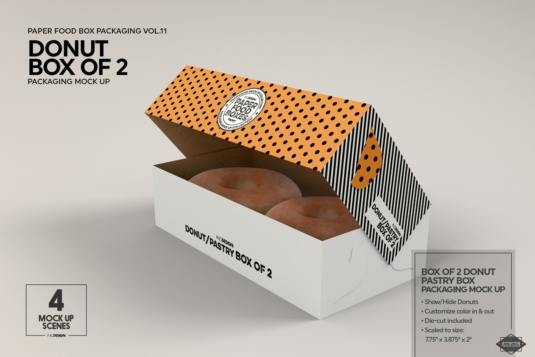 Download Box of Two Donut Pastry Box Mockup #Ad , #Affiliate, #Open ...