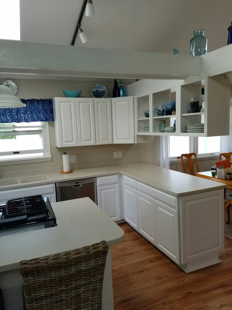 My Coastal kitchen cabinets and counter tops from Lowes ...