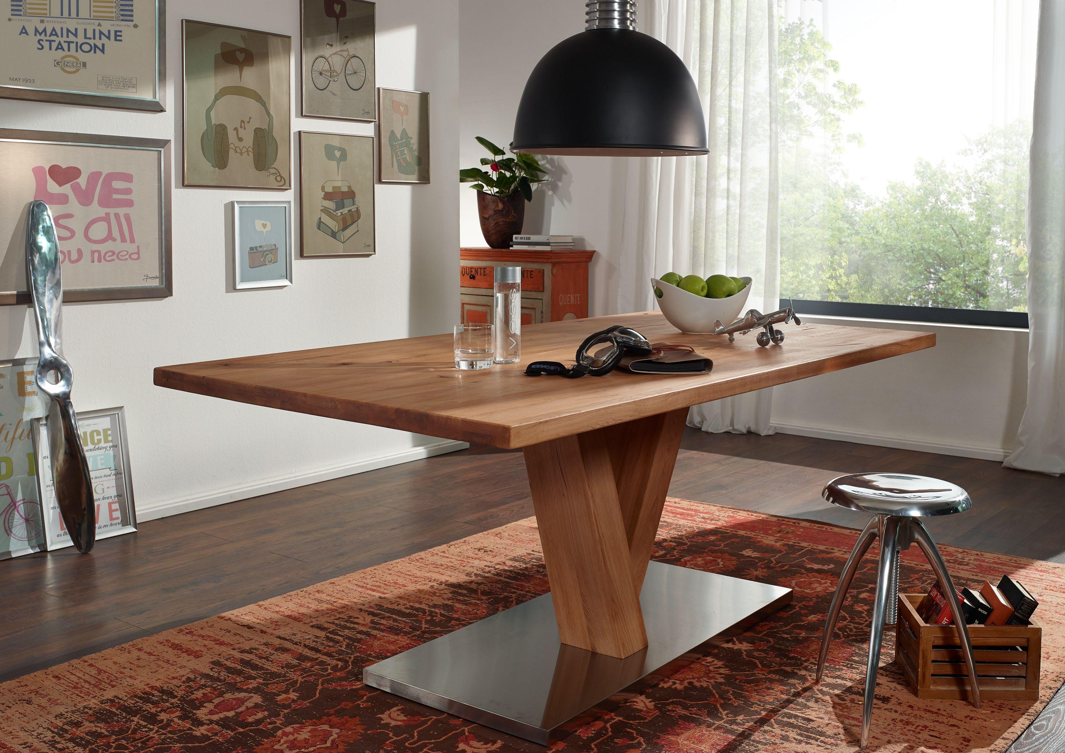Esstisch der serie bremen mit natur riss optik wildeichenholz in kombination mit edelstahl - Esszimmer bremen ...