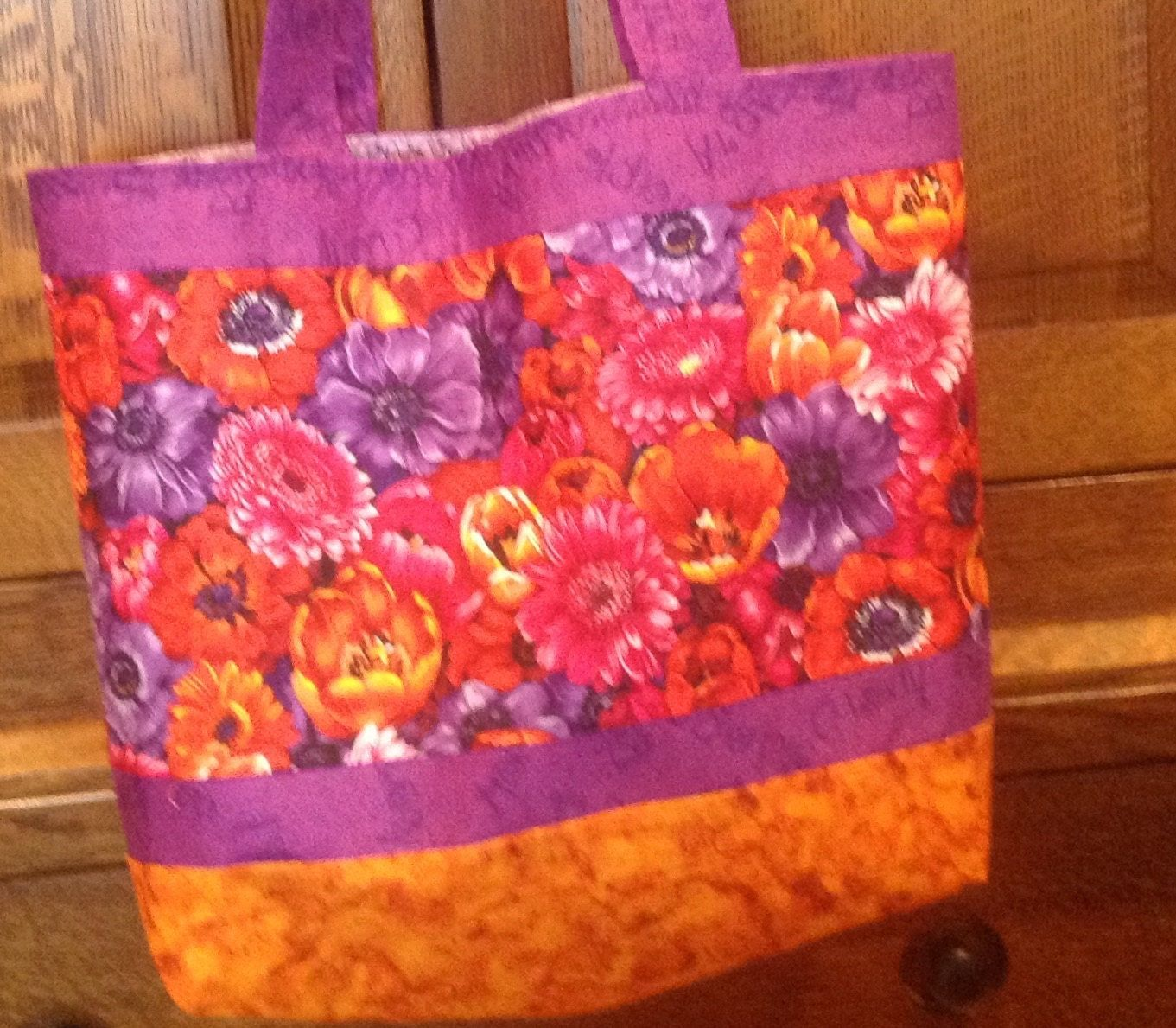 Purple/orange pink floral tote/market bag, 17 in.W x13 in. H x 4 in.D, open top, lined, washable, shoulder carry, decorative stitching by HarneysHandmades on Etsy