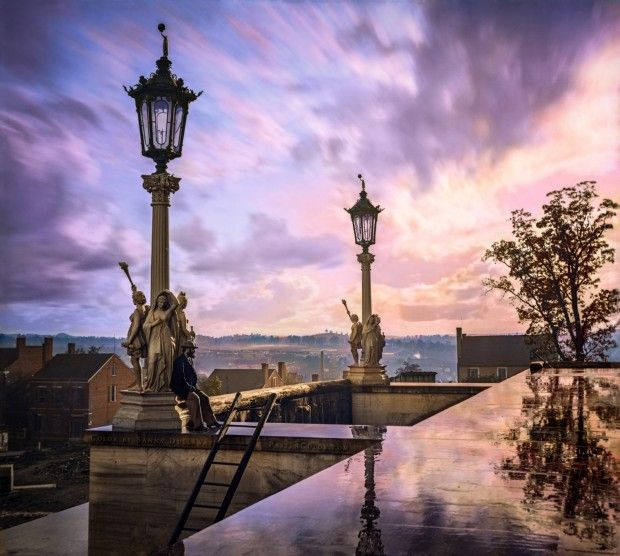 """1864: Colourised picture of the """"View from the Capitol at Nashville, Tennessee"""""""
