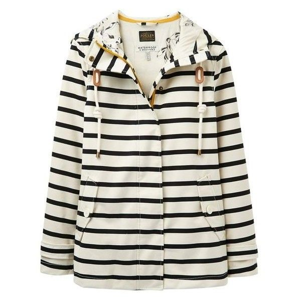 Joules Right as Rain Coast Stripe Waterproof Jacket, Cream/Black via Polyvore featuring outerwear, jackets, waterproof jacket, striped jacket, stripe jacket, joules jacket and water proof jacket