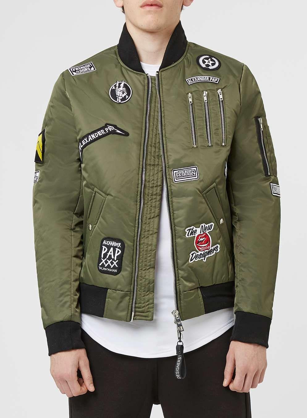 505cebb2c THE NEW DESIGNERS Khaki Badge Padded MA1 Jacket* - Badged Bomber ...