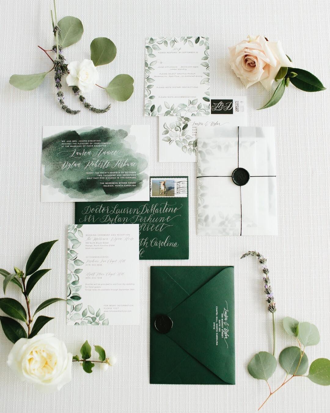 Custom Wedding Invitations On Instagram Loved Seeing Lauren And Dylan S Beau Green Wedding Invitations Country Wedding Invitations Custom Wedding Invitations