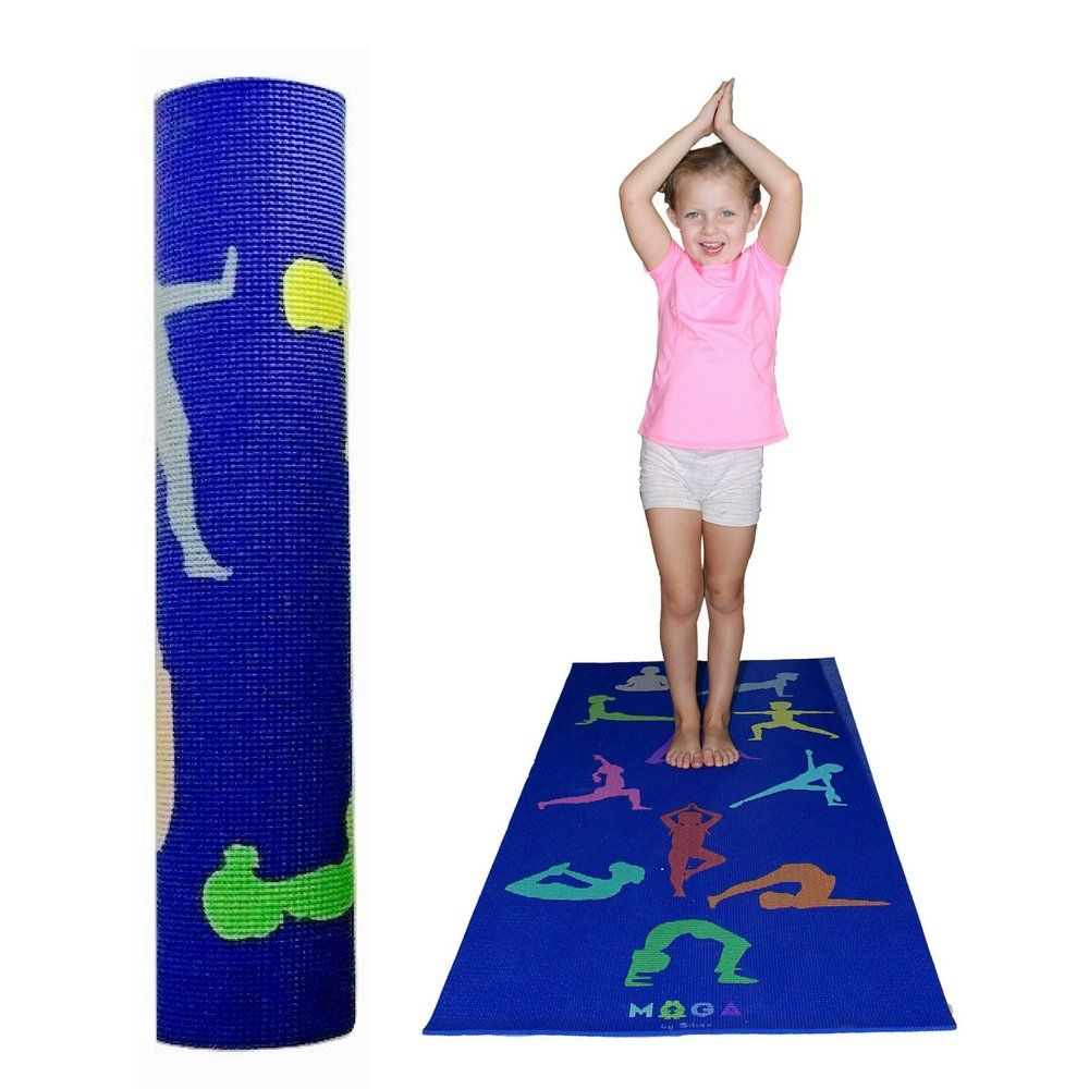 Moga Kids Yoga Mat 1 2 Inch Thick Play Pad With Poses For Exercise And Fitness For Boys And Girls Multipurpose Non Kids Yoga Mat Yoga For Kids Childrens Yoga