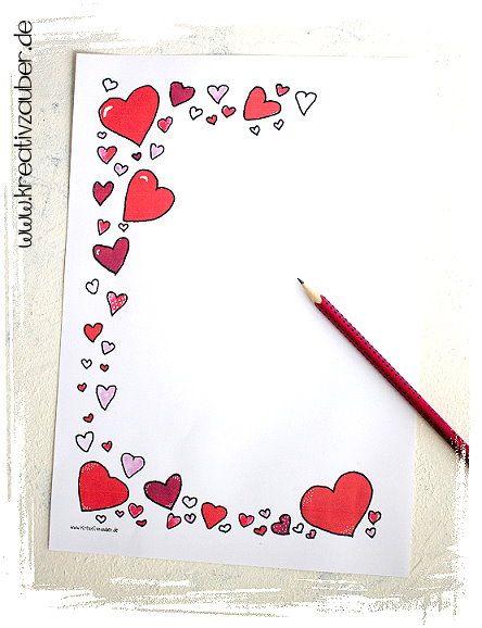 Briefpapier Vorlage Herzen - zu Muttertag, Geburtstag usw ...