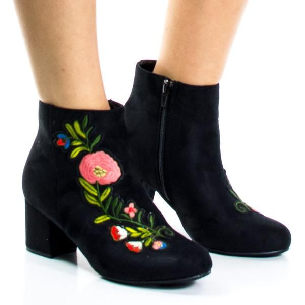 Floral Embroidery Ankle Bootie on Block Heel & Faux Fur Lining