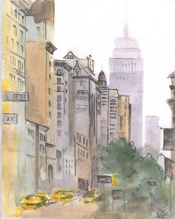 Watercolor New York: New York City Streets. New York Street Painting. NYC