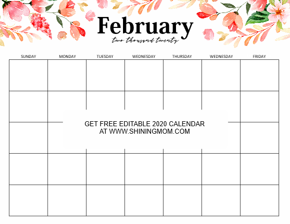 Free Fully Editable 2020 Calendar Template In Word 2020 Calendar Template Calendar Template Free Calendar Template