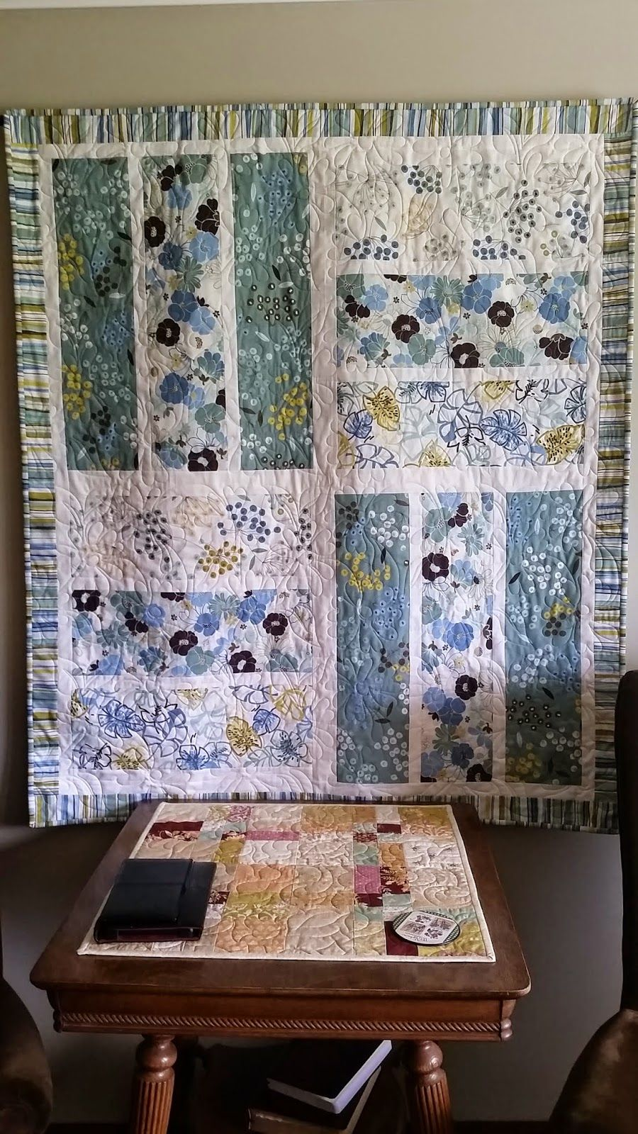 oversized strips quilt  no pattern just straightforward rectangles nice for showing off large