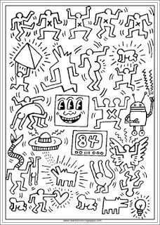 keith haring arts coloring pages for adults | coloring pages ...