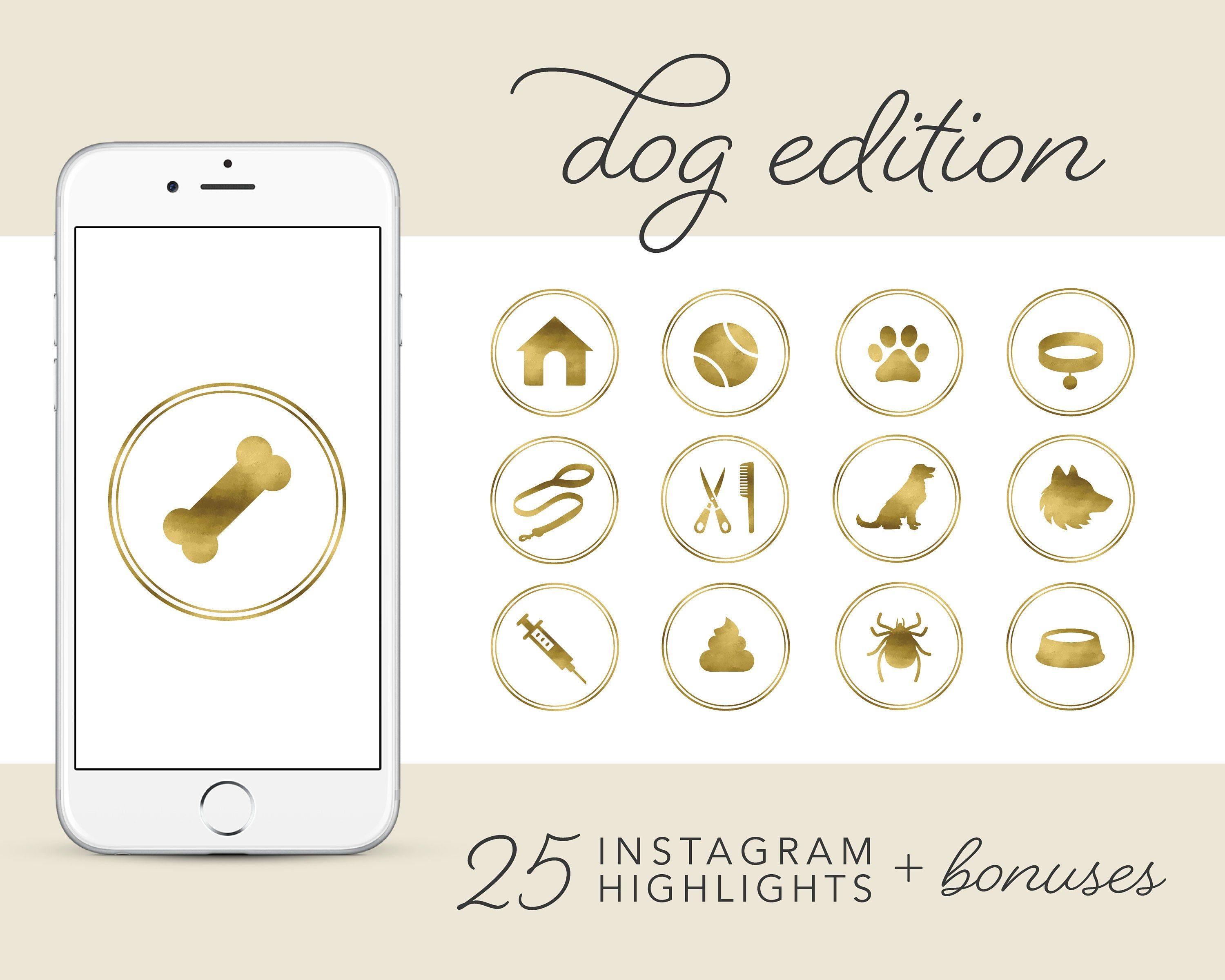 Dog Instagram Story Highlights Icons, Gold Pet Highlight